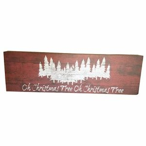 Designs Direct Holiday - Oh Christmas Tree Red Wood Sign